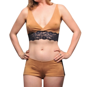 "Larkspur ""Trudie"" Bralette & Tap Pants in Tobacco/Navy"